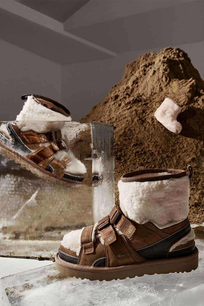 Mound of dirt and block ice featuring UGG boots by Feng Chen Wang.