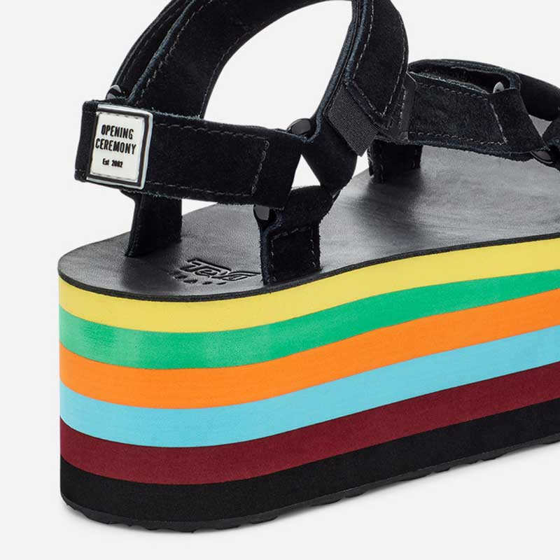 Close up on heel of the rainbow Opening Ceremony x Teva shoes.